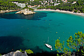View from viewpoint towards Cala Galdana, Minorca, Balearic Islands, Spain