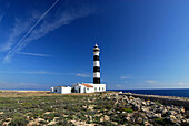 Cala en Bosc, lighthouse at Cap d´Artutx on the Southwest tip of Minorca, Balearic Islands, Spain