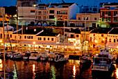Restaurants in the Marina at Ciutadella, Minorca, Balearic Islands, Spain