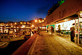 Es Castell, Restaurant Trebol in the harbour in the evening light, Minorca, Balearic Islands, Spain