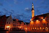 Raekoja Plats, town hall square in the late evening in summer, Tallinn, Estonia
