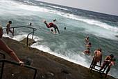 People swimming in the sea, La Maceta beach, Lava, El Golfo, El Hierro, Canary Islands, Spain