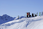 Group of  backcountry skiers resting, Kitzbuehel Alps, Tyrol, Austria
