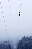 Gondola in fog, Chiemgau range, Chiemgau, Upper Bavaria, Bavaria, Germany