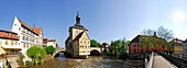 Panorama with Old Townhall, Bamberg, Upper Franconia, Bavaria, Germany