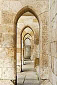 Row of archways, Regensburger cathedral, Regensburg, Upper Palatinate, Bavaria, Germany