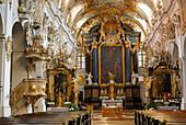 Nave and altar, St. Emmeram's Abbey, Regensburg, Upper Palatinate, Bavaria, Germany