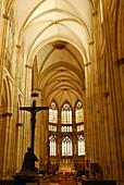 Inside the nave, Regensburg Cathedral, Regensburg, Upper Palatinate, Bavaria, Germany