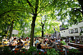 Guests in a beergarden, Nuremberg, Middle Franconia, Bavaria, Germany