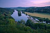 Rail track along river Ruhr, near Witten, Ruhr area, North Rhine-Westphalia, Germany