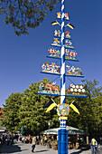 Maypole on Viktualienmarkt, Munich, Upper Bavaria, Germany