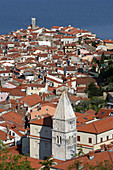 Piran, old town peninsula, italian style, St Franciss Church, Gulf of Piran, Adriatic sea, Slovenia