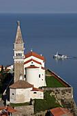 Piran, old town peninsula, italian style, St Georges Church, Belfry, Baptistry, Gulf of Piran, Adriatic sea, Slovenia
