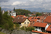 Skofja Loka, old town houses, Church of St James, Slovenia