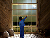 back view, Barn, Barns, boy, boys, child, childhood, children, Color, Colour, Contemporary, Country, Countryside, Digital composite, Fantasy, Full body, Full length, Full-body, Full-length, human, Imagination, infancy, kid, kids, Light, male, Moon, Night,