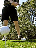 Ability, Action, Adult, Adults, Anonymous, Ball, Balls, Blow, Blowing, Blows, Color, Colour, Contemporary, Daytime, exterior, Fit, From below, Golf, Golf club, Golf clubs, Golf course, Golf courses, Golf player, Golf players, Golfer, Golfers, human, In go