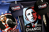 Florida, Miami, Biscayne Boulevard, Bicentennial Park, Early Vote for Change Rally, Barack Obama, presidential candidate, campaign, campaigning, paraphernalia, Black, man, political, logo, caps, printed tee shirt, t-shirt, election