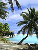 over-water dwelling on lagoon, Aitutaki, Cook islands