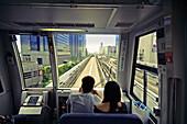 Automated guideway transit train (Yurikamome Line). Odaiba island. Tokyo Bay. Japan.