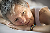 Absorbed, Adult, Adults, Calm, Calmness, Caucasian, Caucasians, Chill out, Chilling out, Close up, Close-up, Closeup, Color, Colour, Contemporary, face, faces, Female, Gray-haired, Grey hair, Grey haired, Grey hairs, Grey-haired, headshot, headshots, huma