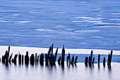 Pilings and melting ice in Chequamegon Bay