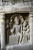 Lord Vishnu sitting astride Shesh Nag at Ellora, Aurangabad, Maharashtra, India Ellora, with its uninterrupted sequence of monuments dating from A.D. 600 to 1000, brings the civilization of ancient India to life.