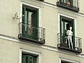 Apartment, Apartments, Balconies, Balcony, Building, Buildings, Color, Colour, Contemporary, Daytime, Dummies, Dummy, exterior, Facade, Façade, Facades, Façades, female, Flat, Flats, Lifeless, Lifelessness, Mannequin, Mannequins, Odd, Original, Originalit
