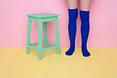 Adult, Adults, Barefeet, Barefoot, Blue, Color, Colored, Colorful, Colors, Colour, Coloured, Colourful, Colours, Contemporary, Female, Green, human, Leg, Legs, One, One person, people, person, persons, Pink, Single person, Sock, Socks, Stand, Standing, St