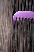 Adult, Adults, Brunette, Brunettes, Close up, Close-up, Closeup, Color, Colour, Comb, Combing, Combs, Contemporary, Dark-haired, detail, details, Female, Girl, Girls, Hair, Hair care, Haircare, human, indoor, indoors, interior, Lilac, Long hair, Long hair