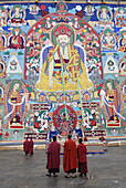 Huge thangka or thongdrel representing the shabdrung, Bhutan's greatest ruler, punakha tsechu festival, punakha, Bhutan