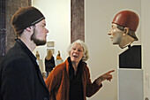 Visitors looking at a sculpture. Bode Museum, Museum Island, Berlin