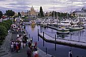 Causeway, Government Street Wharf and Provincial Legislature. Victoria, British Columbia, Canada