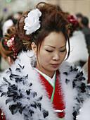 Japan, Kansai, Kyoto, Seijin-no-hi. Coming of age day, woman in furisode kimono.