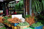 Market stand for chinese medicinal herbs at the market at the Old Town, Taipei, Taiwan, Asia