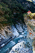 Viewing pagoda above the gorge of the Liwu river, Taroko Gorge, Taroko National Park, Taiwan, Asia