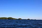 View at Linnansaari Island under blue sky, Linnansaari National Park, Saimaa Lake District, Finland, Europe