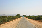 Empty country road under clear sky, Myanmar, Burma, Asia