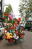 A street vendor selling flowers, Rangoon, Myanmar, Burma, Asia