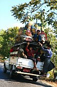 People carrier, people and luggage on overloaded pickup truck, Shan State, Myanmar, Burma, Asia