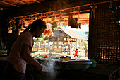 Woman selling typical shan noodle soup, Hispaw, Shan State, Myanmar, Burma, Asia