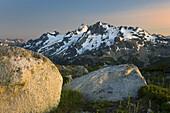 Twilight over Mount Matier left 2783 m -9131 ft and Joffre Peak 2721 m -8927 ft seen from ridge of Mount Rohr British Columbia Canada