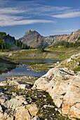 Alpine basin of Yellow Aster Butte, American Border peak in the distance 2437 meters 7995 feet, Mount Baker Wilderness Washington USA