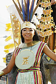 Carnival Queen with costume dress at Panamá city Carnival, Panamá city, Rep.of Panamá, Central America. 2007