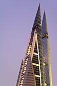 Bahrain World Trade Center, the first skyscraper to integrate wind turbines into its design, Manama, Bahrain