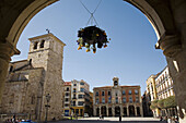Romanesque church of San Juan de Puerta Nueva and Town Hall in Main Square, Zamora. Castilla-Leon, Spain
