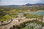 Zahara de la Sierra and reservoir. Pueblos Blancos (white towns), Cadiz province, Andalucia, Spain