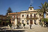 Square and Town Hall, Bornos. Pueblos Blancos (white towns), Cadiz province, Andalucia, Spain