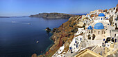 Blue, Churches, Crater, Domed, Greece, Island, Of, Oia, Oía, Santorini, Thera, Thira, Town, N45-764378, agefotostock