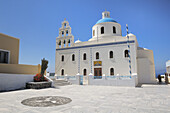 Blue, Church, Domed, Greece, Island, Oia, Oía, Santorini, Thera, Thira, Town, N45-764417, agefotostock