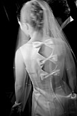 Adult, Adults, b&w, back view, black-and-white, blurred, Bow, Bows, bride, brides, Contemporary, Dress, Dressed up, Dresses, Elegance, Elegant, Female, human, indoor, indoors, interior, Knot, Knots, marriage, matrimony, Medium shot, Medium shots, One, One